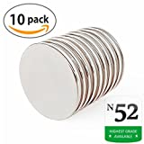 """AMBIPOLAR Neodymium Rare Earth Disc Magnets, N52,1.26""""D x 0.06""""H,High Grade Strong Neo Magnets, Permanent 10 Pack ,Strong Magnet for DIY, Strong Fridge Magnet, Crafts Magnet, Truck ,Office"""