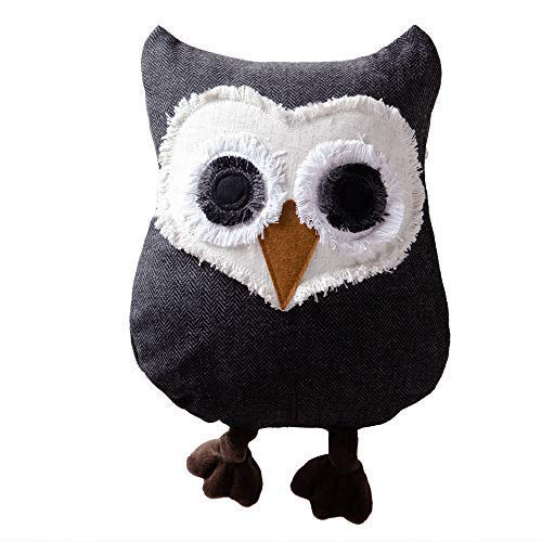 JWH 3D Handmade Owl Accent Pillow Applique Decorative Cushion Home Sofa Car Chair Bed Living Room Stuffed Plush Toy Girl Gift Dark Gray ()