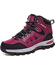 Rokiemen Men's Womens Ankle High Waterproof Hiking Boots Winter Fur Lined Warm Mid Outdoor Trail Mountaineering Camping Backpacking Trekking Trails Outdoor Lightweight Couple Shoes
