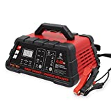 Potek 2/10/20 Amp Smart Battery Charger Car / Automotive and Maintainer with 50-Amp Battery Clips (20A)