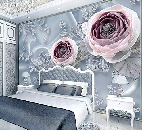 (Murwall Floral Wallpaper Pink Diamond Rose Wall Mural Jewelry Flower Wall Art Classical Home Decor Cafe Design Living Room)