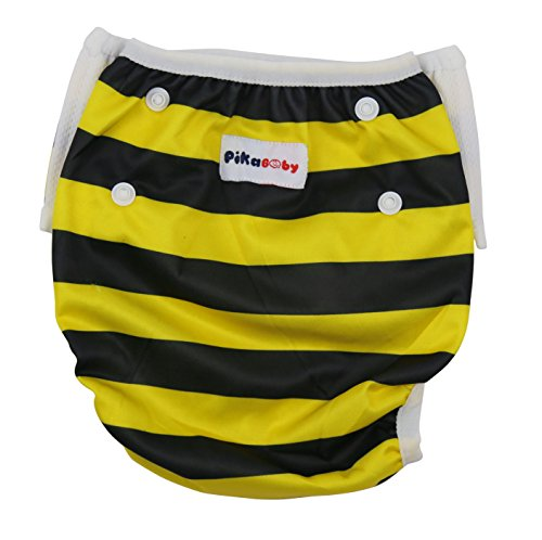 Baby swim diapers - Premium, stylish, Adjustable reusable swimming suit diapers shirt for kids, boys and girls (bee)