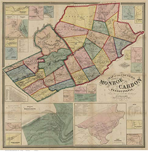 Monroe and Carbon Counties Pennsylvania 1860 - Wall Map with Homeowner Names - Old Map Reprint