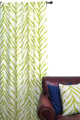EZ Living Home H101W84LM Zebra Window Panel, Lime On Cream, 50x84,Lime on Cream,50x84