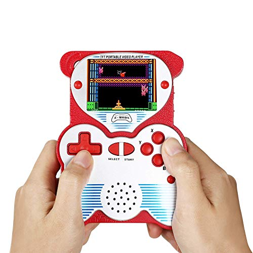 12 Bit Handheld Games Console for Kids,  Portable Games Console Built-in 220 Classic Games, Retro Video Games Player, Panda Design 2.5 Inch LCD Arcade Gaming System USB Charge for Children - Red (Lcd Handheld Game)