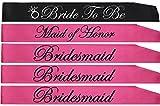 BACHELORETTE PARTY SASH SET(PINK):Bride to be sash,Maid of honor sash,3 Bridesmaid sash/Team Bride free Bride/Bride tribe tattoos, for Bridal shower,Engagement party favors &supplies (pink,black)