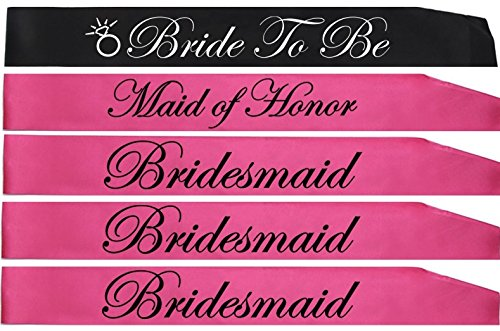 BACHELORETTE PARTY SASH SET(PINK):Bride to be sash,Maid of honor sash,3 Bridesmaid sash/Team Bride free Bride/Bride tribe tattoos, for Bridal shower,Engagement party favors &supplies (pink,black) by Gemich (Image #8)