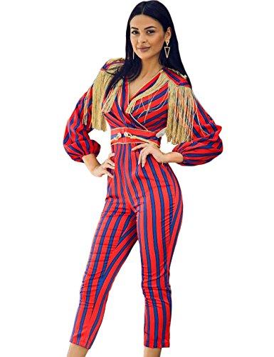 Stripe Party Fringe Celebrity Women Maketina V Long Neck Red Jumpsuit Sleeve Tassel qORR04n8x