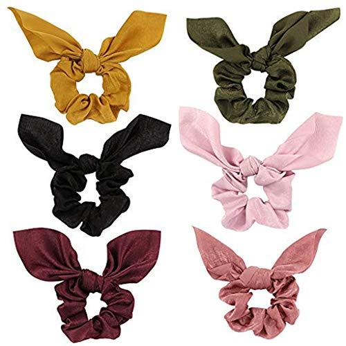 JJLIKER 6 Pieces Bowknot Hair Scrunchies Scrunchy Hair Ties Elastic Hair Bands Ponytail for Women Girls Hair Accessories