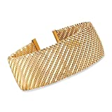 Ross-Simons Italian 18kt Yellow Gold Over Sterling Silver Cuff Bracelet With Stainless Steel