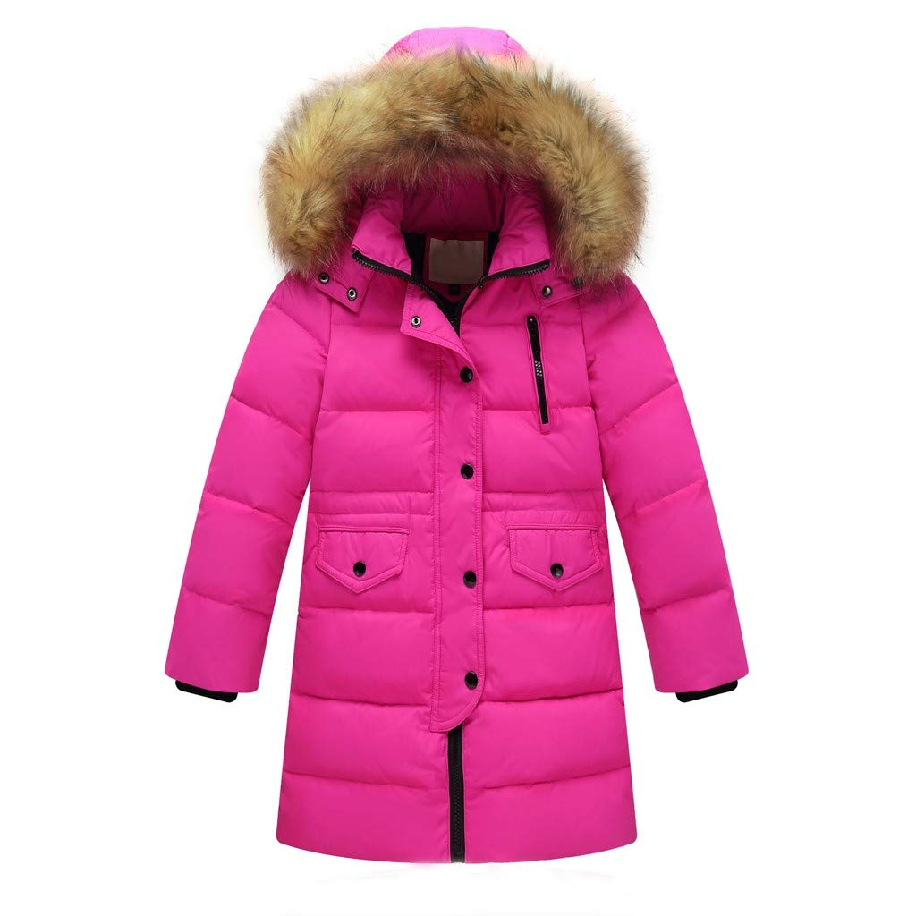 Yezijin Big Girls Winter Parka Down Coat Puffer Jacket Padded Overcoat with Fur Hood for 2-12 Years Old