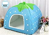 Prettysell Strawberry Cotton Soft Dog Cat Pet Bed House Sponge Dome Tent Bed Cushion Nest(Blue,L)