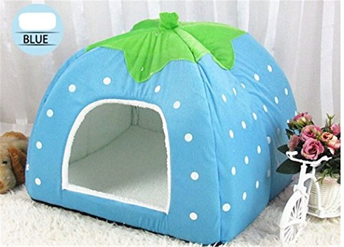 Prettysell Strawberry Cotton Soft Dog Cat Pet Bed House Sponge Dome Tent Bed Cushion Nest(Blue,XL) Review