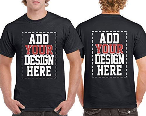Crew Screen Print T-shirt - Custom 2 Sided T-Shirts - Design Your OWN Shirt - Front and Back Printing on Shirts - Add Your Image Photo Logo Text Number Black