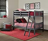 unique bunk beds Storkcraft Caribou Solid Hardwood Twin Bunk Bed, Gray Twin Bunk Beds for Kids with Ladder and Safety Rail