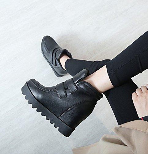 Charm Fot Kvinna Komfort Dold Klack Plattform Hög Klack Boots Svart