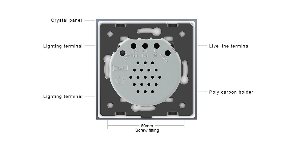 LIVOLO Interruptor con mando a distancia con pantalla LED Interruptor para pantalla táctil de vidrio cristalino Estándar UE 1 Gang 2 way,VL-C701SR-11-R: ...