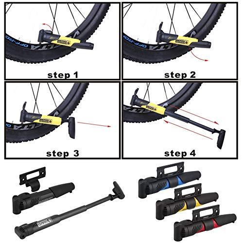 Negro Justdodo Bicicleta Liviana port/átil Ciclo de Bicicleta ABS Compacto V/álvulas de Bomba de pl/ástico Neum/ático para inflar neum/áticos con acci/ón telesc/ópica