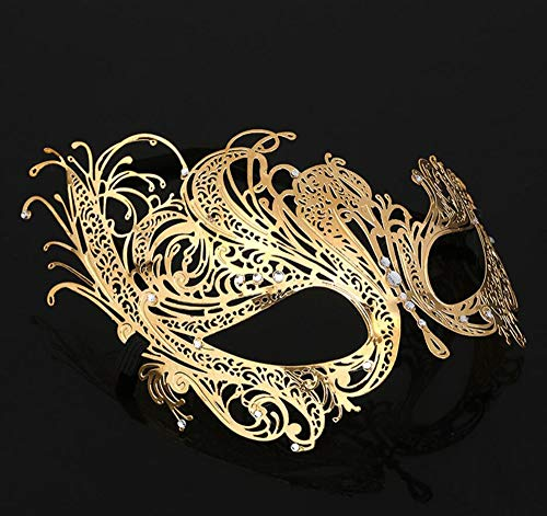 Gfdhj Halloween Masks, Men and Women, Iron Mask, Metal Hollowed in, Phoenix Mask, Dance Face Half Face Mask. (Color : Silver)