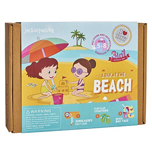 A Day at The Beach Art and Craft Kit for Girls | 3 Craft Projects-in-1 | Best Girl Gift for Ages 5 to 8 Years | Includes Beautiful Felt and Foam Embellishments (A Day at The Beach 3-in-1)