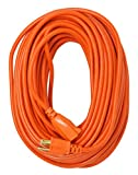 Woods 02309 16/3 Vinyl Outdoor Heavy Duty Extension Cord, Waterproof Flexible Vinyl Jacket, 3- Pronged, 100-Foot Extension Cord, 10 AMP, 1250 Watts, 125 Volts, Ideal For Use With Shop Vac, Weed Wacker, Bush Trimmer, Leaf Blower