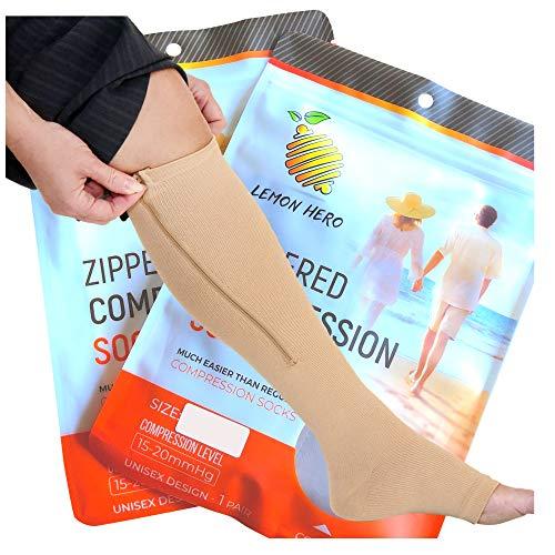 Short/Petite Zippered Medical Compression Socks with Zipper Safe Guard & Open Toe - Best Leg Support Stocking (3XL(Short) - Calf 17-19in, Beige)