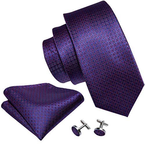 Cufflinks Designer - Dark Purple Ties,Silk Novelty Necktie Set with Cufflinks Hanky Designer