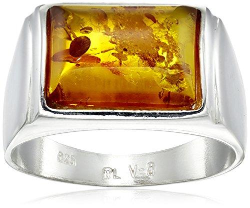 Rectangular Honey Amber Ring - 1