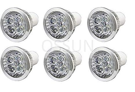 Ossun - Bombilla LED de 5 W superbrillante GU10, color blanco cálido, 6 unidades