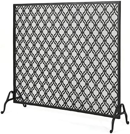エクストラロングファイアガード、メッシュ付き錬鉄製パーティション暖炉スクリーン、屋内屋外暖炉ツールアクセサリー-ブラック (Color : Black, Size : 100×28×88cm)