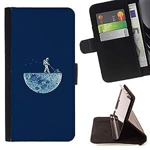 Momo Phone Case / Flip Funda de Cuero Case Cover - DIVERTIDA - LAWNING LA LUNA - Samsung Galaxy S5 V SM-G900