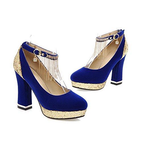 Balamasa Filles Paillettes Glands Cloutés Strass Boucles Métalliques Givrées Pompes-chaussures Bleu