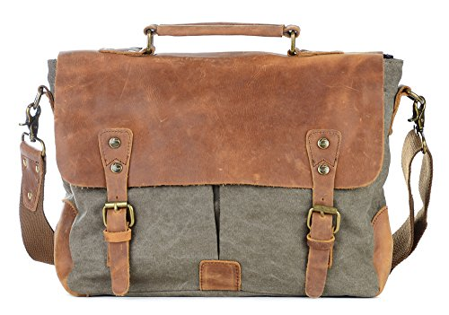 Gootium Canvas Messenger Bag Vintage Leather 14 Inch Laptop Shoulder Bag Men Army Green