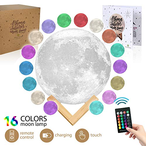 Moon Lamp Moon Light 3D Moon Lamp - [USA Seller] [Upgrade] 16 Color Moon Night Light with Stand - Mood Lamp Book, Globe, Cool Lamp, 5.9 in, USB Charging (5.9 inch - 16 Color)