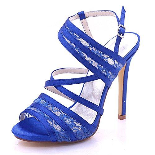 L@YC Zapatos de Boda de Las Mujeres Satén y Encaje Peep Toe High Heel 7216-07 Nupcial Gran tamaño Blue