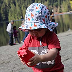 Toddler Sun Hat with Chin Strap, Drawstring Adjust Head Size, Breathable 50+ UPF (M: 6m - 3Y, Woodland )