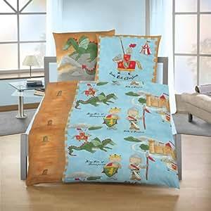 Ido Homeware 5004 - Juego de cama infantil (franela), diseño de caballeros y dragones