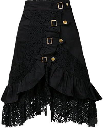 Taiduosheng Women's Steampunk Gothic Clothing Vintage Cotton Black Lace Skirts