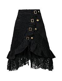 Taiduosheng Women's Steampunk Party Club wear Punk Gothic Retro Black lace Skirt