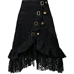 Taiduosheng Women's Steampunk Gothic Clothing Vintage Cotton Black Lace Skirts