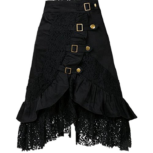 Taiduosheng Womens Steampunk Gothic Clothing Vintage Cotton Black Lace Skirts