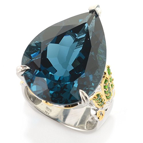 Michael Valitutti Palladium Silver Cleopatra Pear London Blue Topaz & Chrome Diopside Flower Ring