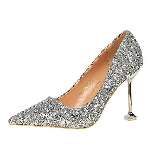 Plata Zapatos Gradiente Mujer La Con Matrimonio Punta Los Crystal Solo 39 Fina Tacón Alto Cuero El De Qiqi Madre Xue Una HqFxn4tx