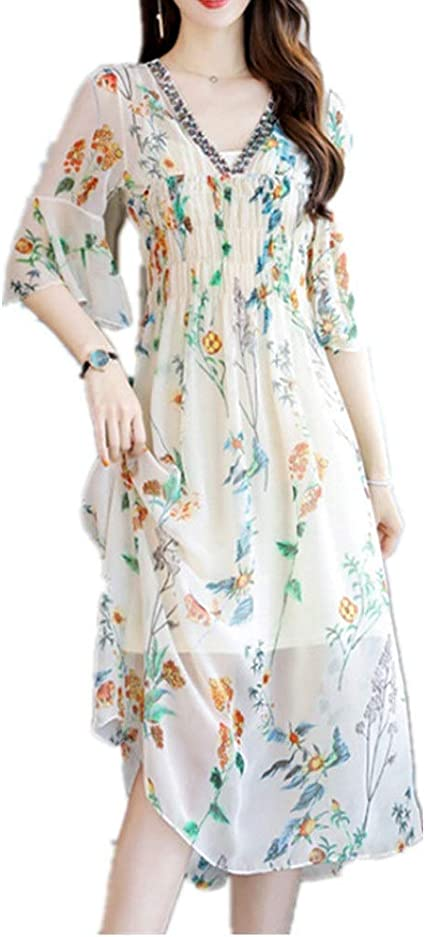 Liergou Fs Summer Beach Dresses Women Beach Dress Floral Dress V Neck Loose Ladies Chiffon Skirt Beach Skirt Color Beige Size L Amazon Co Uk Kitchen Home
