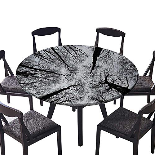 (Premium Round Tablecloth Scary Winter Tops of The Trees Dark Dramatic Silhouettes Enchanted for All Occasions 40