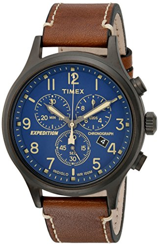 - Timex Men's TW4B09000 Expedition Scout Chrono Brown/Blue Leather Strap Watch
