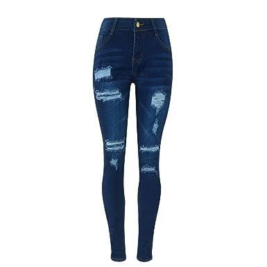 Doublehero Damen Baumwolle Skinny Denim Hosen Hohe Taille Bleistift Jeans  Röhrenhose Destroyed Loch Zerrissen Ripped Denim 9466c406bc
