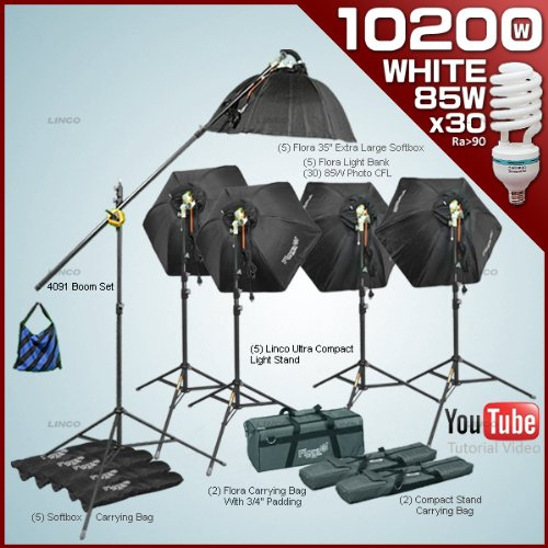 Photography video studio Lighting kit with 5 Fluorescent Light Bank Linco Flora +5 35'' Hexogen Easy Softbox Linco Flora +4 8308 Compact Light Stand+30 85W Softwhite Daylight Photo Energy Bulb Linco +4 Carrying Bag+1 Studio Boom stand Linco#7800FKB