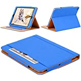 ENKESIN iPad Air Case - Leather Stand Folio Case Cover for Apple iPad Air Case with Multiple Viewing Angles, Document Card Pocket (Blue)