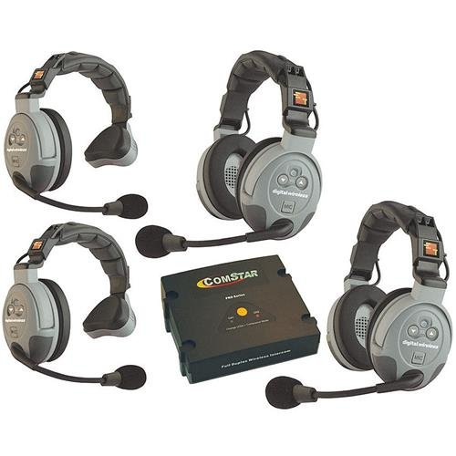 Eartec COMSTAR XT Full Duplex Wireless Intercom System with All-in-One Headsets (4 Person) 4 Headset Intercom System